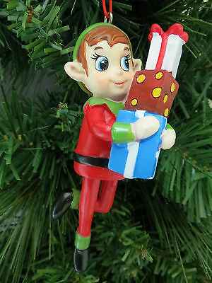 Holiday Pixie Elf with Gifts Presents Christmas Tree Ornament Stocking Stuffer