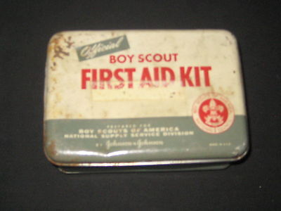 Johnson & Johnson Boy Scout First Aid Kit, metal cover, 1950s              eb08