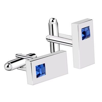 Blue Mens Cufflinks Diamond Crystal Rectangle Silver Plated Suit Cuff Links