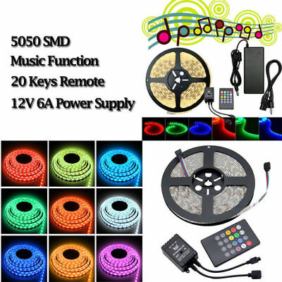 5-100M 5050 RGB LED Strip Light Dimmable Sound Activated Music Color Change Kit