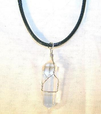 CLEAR CRYSTAL STONE WIRE WRAPPED NECKLACE mens womens health healing JL514 NEW