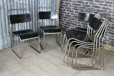 Steel Framed Stacking Chairs With Black Bakelite Seat Large Quantity Available
