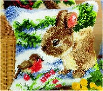 Vervaco Latch Hook Cushion Kit Winter Scene Rabbit & Robin (25603536)