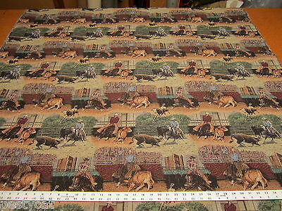 Cutting horse rodeo cowboy tapestry upholstery fabric made in USA ft163
