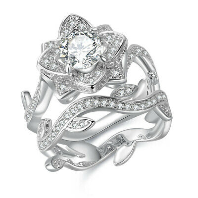 Flower White Cz Sterling Silver Gold Plated Wedding Engagement Ring Set Sz 5-12