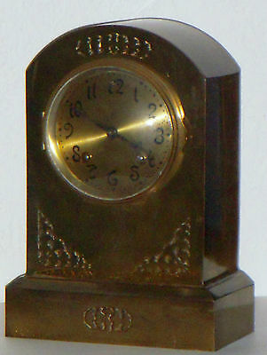 Antique Ansonia New York All Brass 8 Day Art Nouveau Chime Clock Round Top