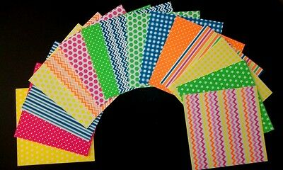 "Bright & Colourful *NEON* Scrapbooking/Cardmaking Papers - 15cm X 15cm (6"" x 6"")"