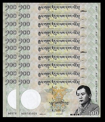 Bhutan 100 Ngultrum 2011 Unc 20 Pcs Consecutive Lot P 32