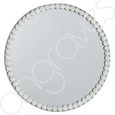 Crystal Gem Mirror Round Candle Plate Glass Home Decor Centrepiece Dish (20cm)