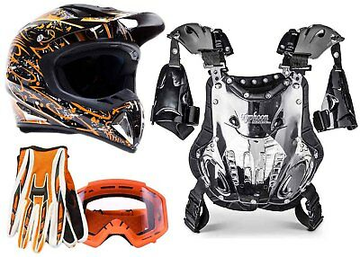 Adult Chest Protector Helmet Combo Gloves Goggles Motocross Dirt Bike ATV Orange