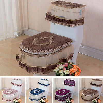 Hot Bathroom Set Toilet Seat Mat Tank Lid Top Cover Warm Washable Cloth 3PC