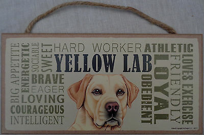 YELLOW LAB Subway Style  5 X10 hanging Wood Sign USA (Labrador Retriever)