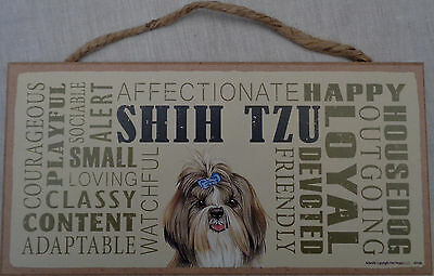 SHIH TZU Subway Style  5 X10 hanging Wood Sign made in the USA!