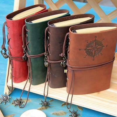 Retro Vintage PU Leather Bound Blank Page Notebook Note Notepad Journal Diary TS