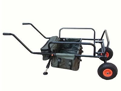 Folding Fishing Trolley 2 Pneumatic Wheel Barrow Cart Buggy Adjustable Legs New