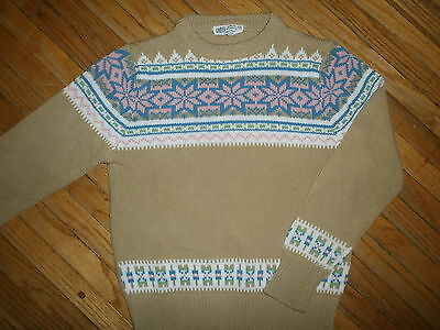 vtg 1970s 1980s GIRLS KMART SWEATER Winter Acrylic Knit Ski Tan Pink Snowflake