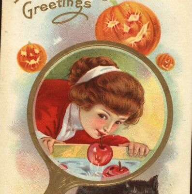 Pretty Lady Bobs For Apples,halloween Game,mirror,jol,black Cat,vintage Postcard