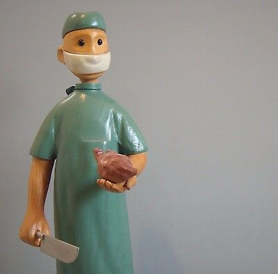 Vintage Wood Romer Carved Folk Art Doctor Heart Surgeon Medical Figure