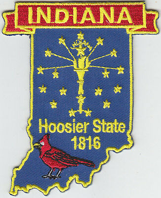 Indiana IN map patch HOOSIER STATE 1816/CARDINAL
