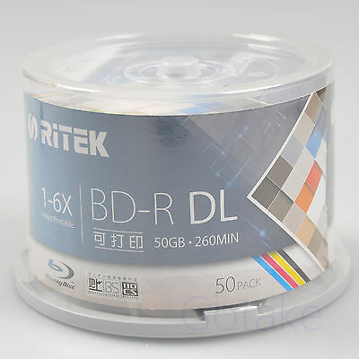 50pcs Blu-ray BD-R 50GB Dual Layer 6X Blank Disc Media Inkjet Printable Spindle