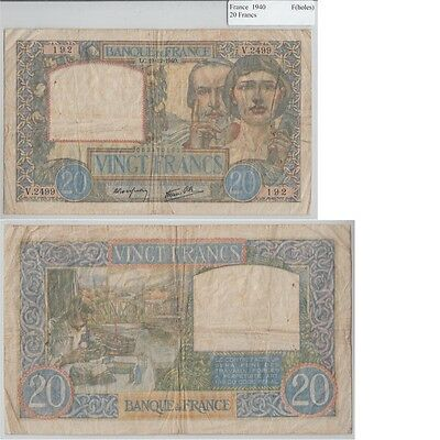 1940 20 Francs banknote from France in Fine Condition.