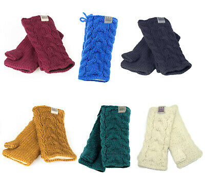 Kusan Thick Yarn Cable Knit Wool Handwarmers/Fingerless Gloves (PK1128)