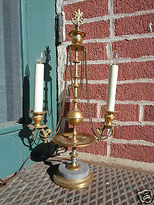 Antique French Candle Lamp Candelabra Bronze Dore Marble Double Arm