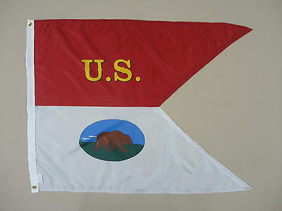 2nd MA Cavalry California Historical Indoor Outdoor Dyed Nylon Flag Guidon 3'X4'