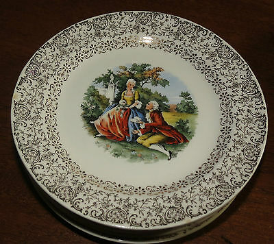 """7 Cronin 6 1/4"""" Bread Plates w/gold filigree & colonial courting scene EXC"""