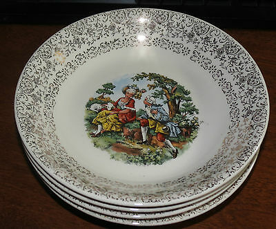 """4 Cronin 7 5/8"""" Soup Bowls w/gold filigree & colonial courting scene EXC"""