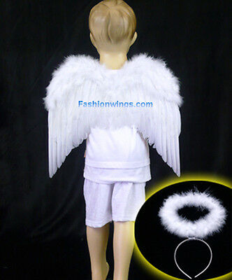 FashionWings Toddlers Unisex White Costume Feather Angel Wings Headband Halo