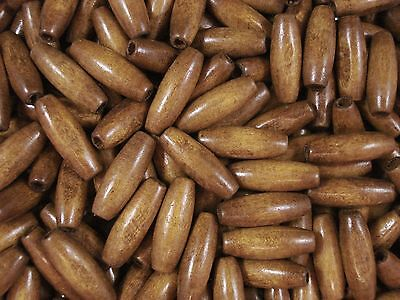 Wooden Beads 50pc Brown Barrel Beads Wood Craft Jewelry Timber FREE POSTAGE