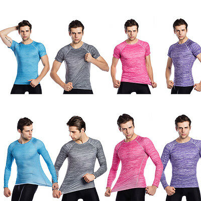Fashion Men's Compression Fitted Gym T-shirt Quick Dry Crew Neck Cycling Tee Top