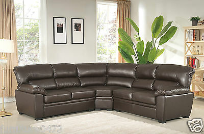 Brown Leather Sectional Corner Sofa Suite CANADA