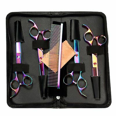 5PC Professional Pet Dog Cat Grooming Scissors Cutting Curved Thinning Shear Set