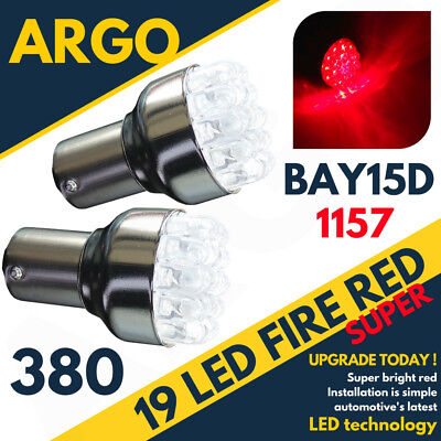 19 Led 380 Red Rear Stop Brake Tail Light Bulbs Lamps 1157 Bay15D P21W 12V Pair