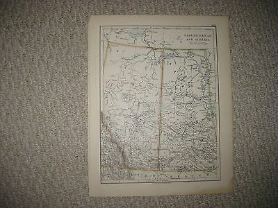Superb Antique 1890 Saskatchewan Alberta British Columbia Canada Map Detailed Nr