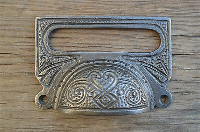 A Large Edwardian Patterned Cast Iron Label Frame Handle Filing Drawer Pull Cb10