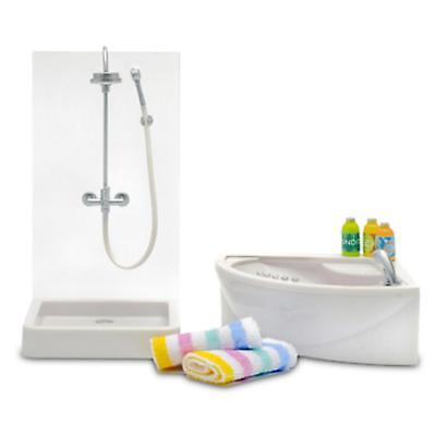 Lundby Stockholm 1:18 Scale Dolls House Bathroom Furniture Shower & Bath Set