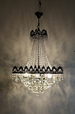 Pair of Antique French Basket Style Brass &  Crystals Chandelier Ceiling Lamp