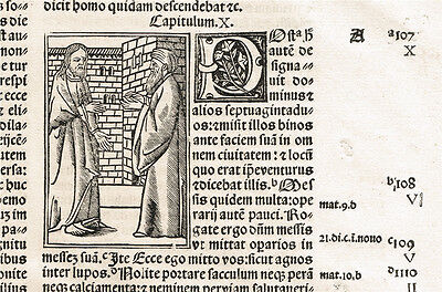 1515 - JESUS TELLS A PARABLE (?) - post-incunable woodcut leaf from Sacon Bible