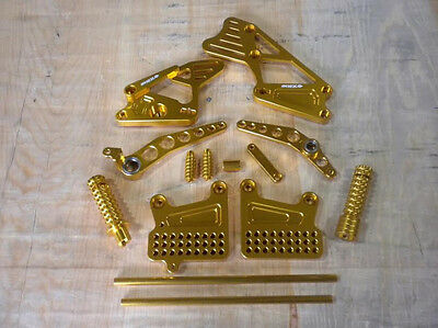 Nex Rearset Foot Pegs Adjustable Shifter For 2007-2008 Yamaha R1 Anodized Gold