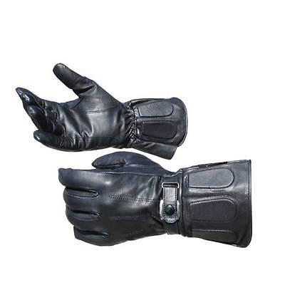 New Black Gauntlet Leather Motorcycle Riding Glove 100% Drum Dyed Cowhide Harley
