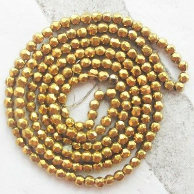QY20047 Beautiful 2mm Faceted Gold Hematite Round Loose Bead 15.5 inch
