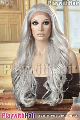 LUXURY Tousled Wig LACE FRONT Heat Friendly White Grey Gray