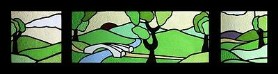 Special & Rare English Art Deco Set Of 3 Stained Glass Windows