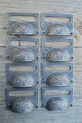A Set Of 8 Large Edwardian Cast Iron Label Frame Handle Filing Drawer Pull Cb10