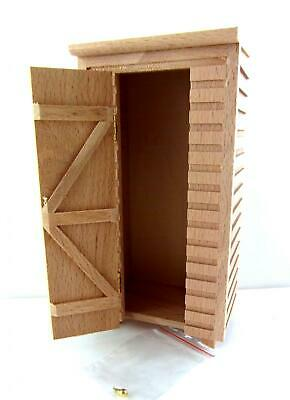 Dolls House Miniature 1:12 Unfinished Natural Wooden Small Garden Shed Outhouse