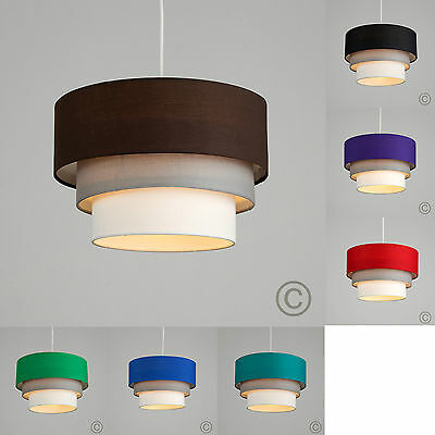 Modern 3 Tiered Fabric Ceiling Pendant Light Shades Lounge Lighting Lampshades