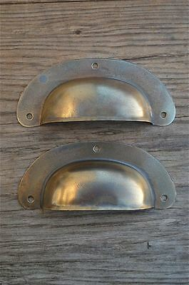 A  Pair Of Antique Pressed Aged Brass Drawer Handle Filing Industrial Pull Cb12